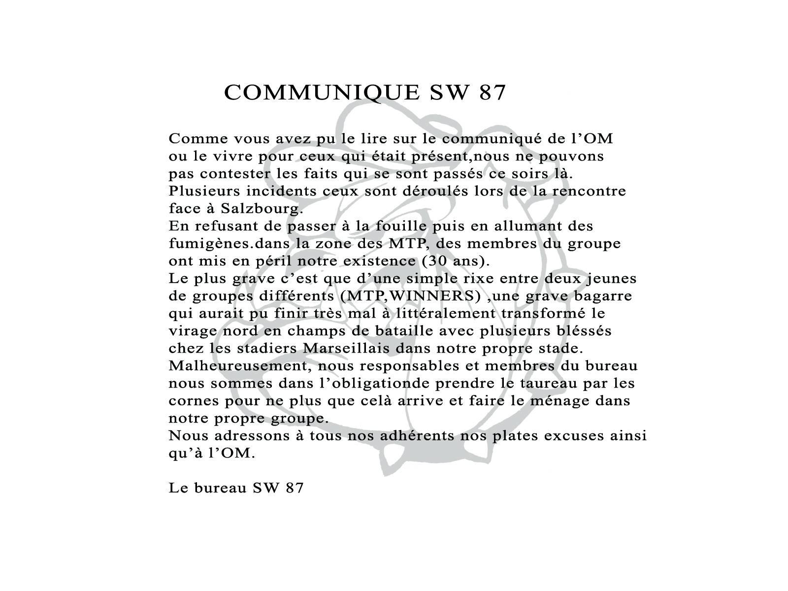 COMMUNIQUE SW87 OM / SALZBOURG