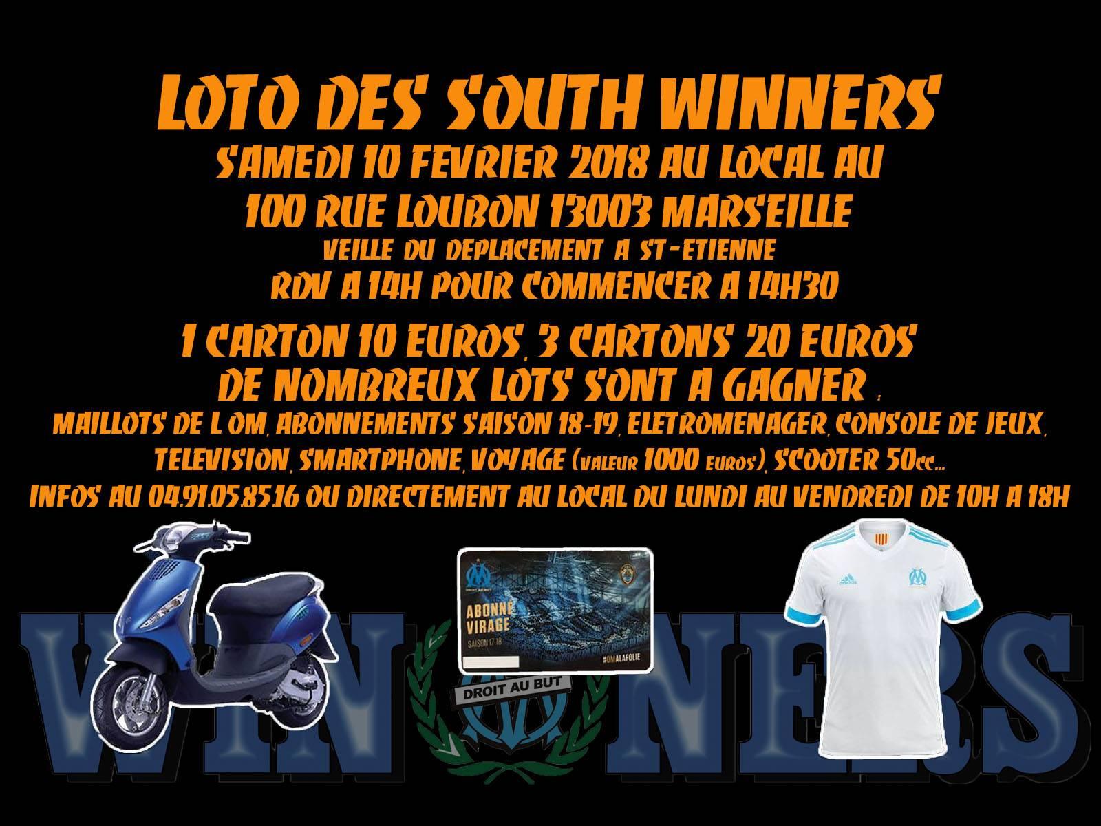 LOTO SOUTH WINNERS SAMEDI 10 FEVRIER 2018 A PARTIR DE 14H
