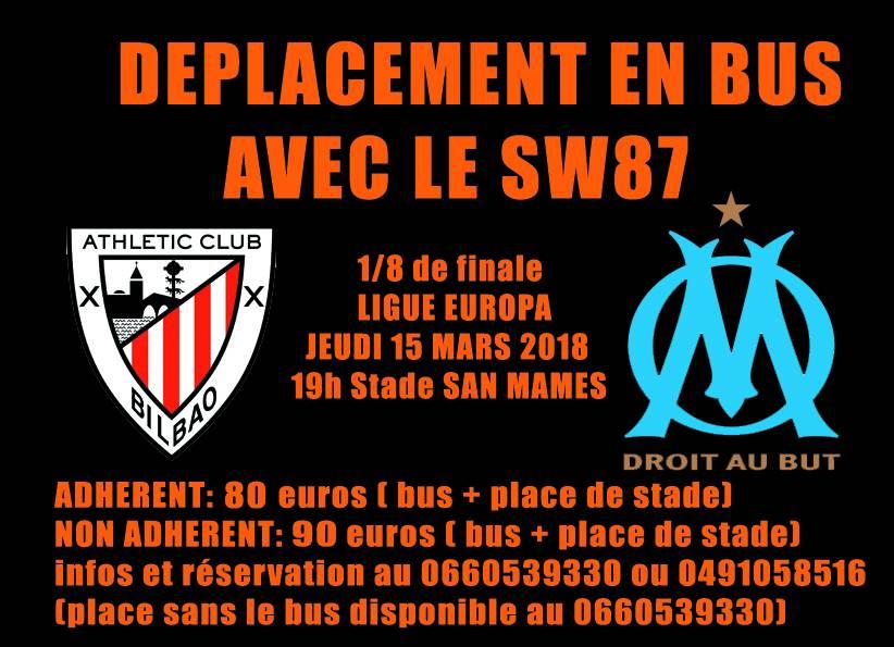 DEPLACEMENT EN BUS AVEC LE SW87  BILBAO / OM jeudi 15 / 03 / 2018
