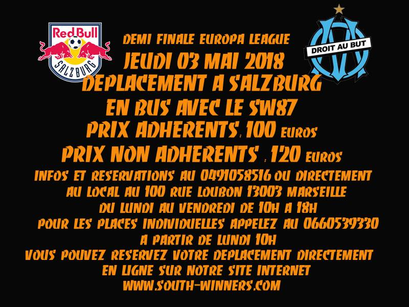 DEPLACEMENT SALZBOURG - OM DEMI-FINALE EUROPA LEAGUE 26/04/2018